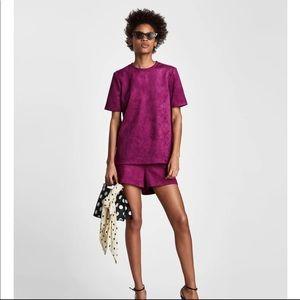 NWT Zara faux suede shorts